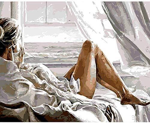 OKOUNOKO Pintura por Conjunto Digital, Mujer En La Cama, Cuadro para Colorear Lienzo, Decoración del Hogar, Sin Marco Regalo para Un Amigo, 40X50Cm