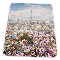 マウスパッド ロマンチック パリ ピンクの花 ゲーミングマウスパット デスクマット 最適 高級感 おしゃれ 滑り止めゴム底 防水設計 複数サイズ