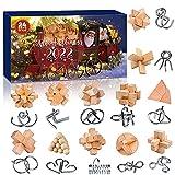 Rompicapo Puzzle Calendario dell'Avvento 2021, 24 pezzi 3D Unlock Interlock metallo e legno Puzzle Giocattoli per conto alla rovescia Regalo di Natale Bambini Adolescenti Adulti