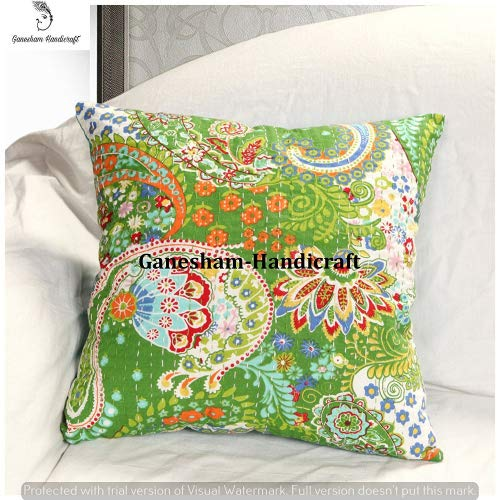 GANESHAM HANDICRAFTS Housse de coussin décorative en coton à sequins Motif cachemire indien 40 x 40 cm