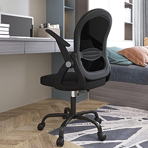 Sytas Bürostuhl, ergonomischer Schreibtischstuhl, Drehgelenk, Computerstuhl mit klappbaren Armen, Lendenwirbelstütze und höhenverstellbar, Schwarz