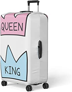 Pinbeam Luggage Cover King and Queen Crowns Flat Cartoon Doodle Drawing Travel Suitcase Cover Protector Baggage Case Fits 18-22 inches
