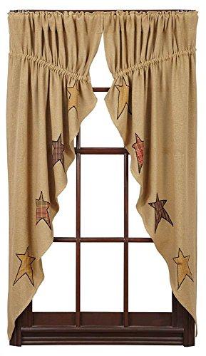 VHC Brands Stratton Burlap Applique Star Prairie Short Panel Set-2 63x36x18 Country Curtains, Tan