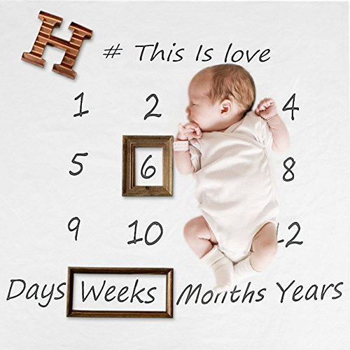 Baby Milestone Blanket Photography Background Prop Monthly Growth Photo Bedding Wrap Swaddle Stroller Mat (Letter)