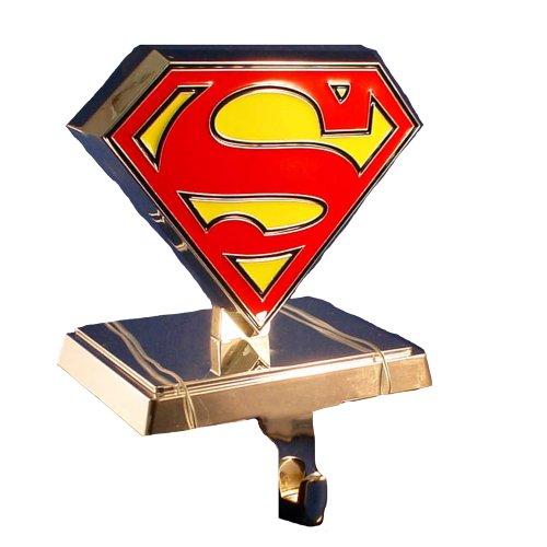 Superman Kurt Adler Logo Stocking Hanger, Silver