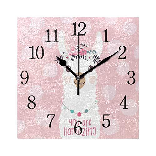 GIGIJY - Reloj de pared cuadrado, diseño de llama, silencioso, sin tictac, para el hogar, sala de estar, cocina, dormitorio, escritorio, oficina, escuela