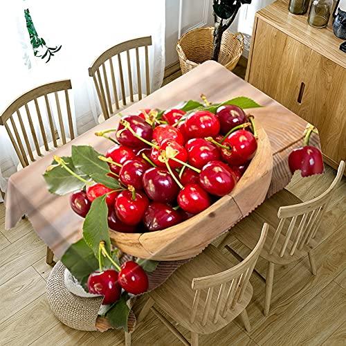 XXDD Decoración del hogar Mantel 3D Mango Amarillo/Cereza roja Serie de Frutas Patrón Mantel Rectangular Lavable A3 140x140cm