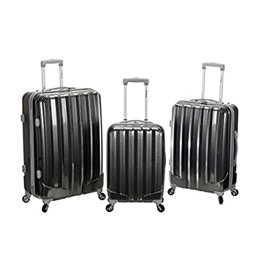 Rockland 3PC Metallic Polycarbonate ABS Upright Set, Fiber, One Size