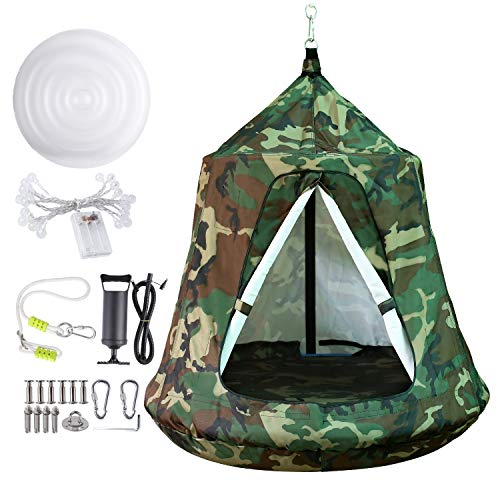 Hanging Tree Tent, Hammock Swing Chair, Portable Tent Play House, with LED Rainbow Lights, Inflatable Cushion, Safety for Adult and Kids Indoor Outdoor, Max Capacity 330LBS (Camouflage)