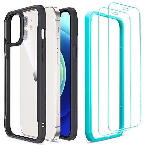 ESR Sidekick Series Compatible with iPhone 12 Mini Case with Screen Protectors, [2 Glass Screen Protectors] [Ergonomic Protective Case] [Shock-Absorbing Corners], 5.4-Inch, Transparent Black