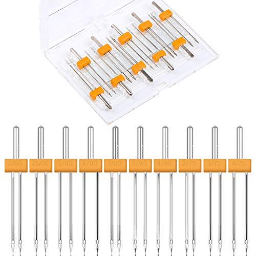 Wamkon 40 agujas dobles, 2.0/90, 2.5/90, 3.0/90, 4.0/90, 2.0/80, 3.0/80, 4.0/80, 2.0/75, 3.0/75, 4.0/75, agujas elásticas dobles, juego universal para máquina de coser para el hogar Máquina