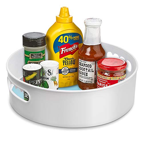"""Omore Lazy Susan Cabinet Organizer, 9"""" Small Rotating Turntable Kitchen Storage Revolving Spice Rack for Under-Sink Bathroom Pantry Shelves Refrigerator Countertop - White"""