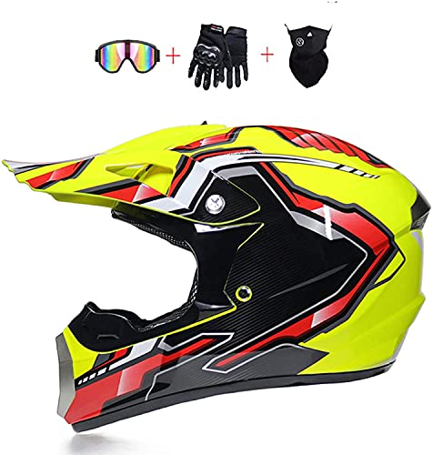 F&FSH· Casco De Motocross para Motocicleta ATV, Ciclomotor con Certificación Dot/ECE, Todo Terreno, Todo Terreno, Anticolisión, Todo Terreno, Cuesta Abajo, Cuatro Ruedas, para Bicicleta Todo Terre