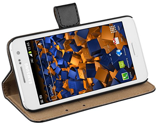 mumbi Echt Leder Bookstyle Hülle kompatibel mit Samsung Galaxy A3 2015 Hülle Leder Tasche Hülle Wallet, schwarz