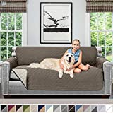 Sofa Shield Original Patent Pending Reversible Large Sofa Protector for Seat Width up to 70 Inch, Furniture Slipcover, 2 Inch Strap, Couch Slip Cover Throw for Pets, Kids, Cats, Sofa, Latte Linen
