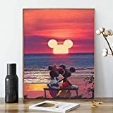 Pintar por numeros Adultos Disney – El Raton Mickey – Cuadros para Pintar por números con Pinceles y Colores Brillantes – Lienzos para Pintar con Dibujos para Adultos y niños – Sin Marco