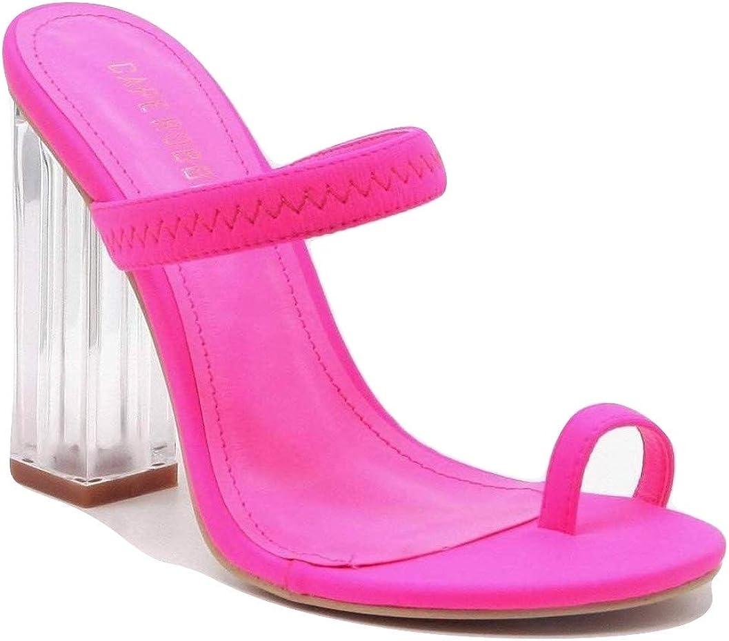 Cape Robbin Womens Maria 2 Heeled Sandal Shoes Macaroon-PNK