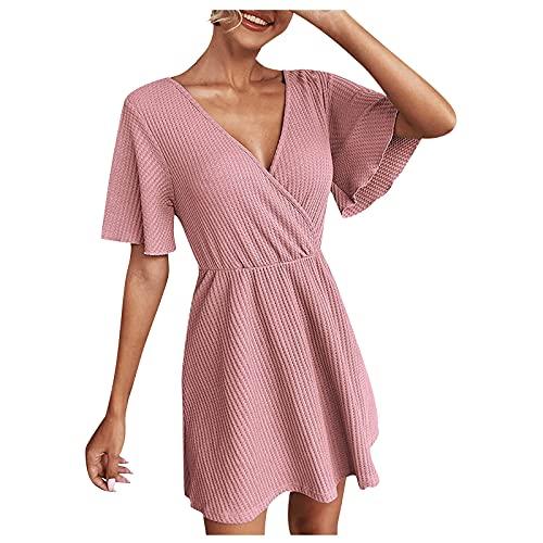 Vestido de punto acanalado para mujer, color flojo, cuello en V, sexy, manga con volantes, vestido de columpio, rosa, XL