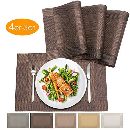 bellendo® Tischset 4er Set - Platzset PVC Kunststoff: Abwischbar, rutschfest – Platzdeckchen, edel und elegant - 45 x 30 cm - Dunkelbraun