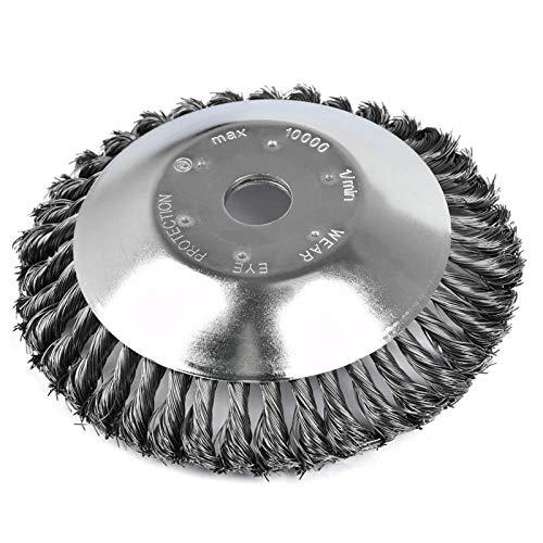 Cepillo de malas hierbas Twist Wire Wheel cepillo para malas hierbas con alambre de acero trenzado para desbrozadora de desbrozadora para jardín cortacésped (tamaño grande)