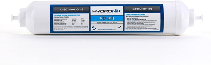 """Hydronix ICF-10Q Inline Coconut Filter 2000 Gal, 2"""" OD X 10"""" Length, 1/4"""" Quick Connect"""