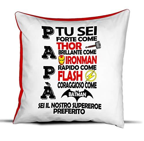 quickgadget Idea Arredo Casa Regalo Cuscino Festa del papà, Compleanno, papà Tu Sei Forte Come Thor, Brillante Come IRONMAM rapido Come Flash, Coraggioso Come Batman