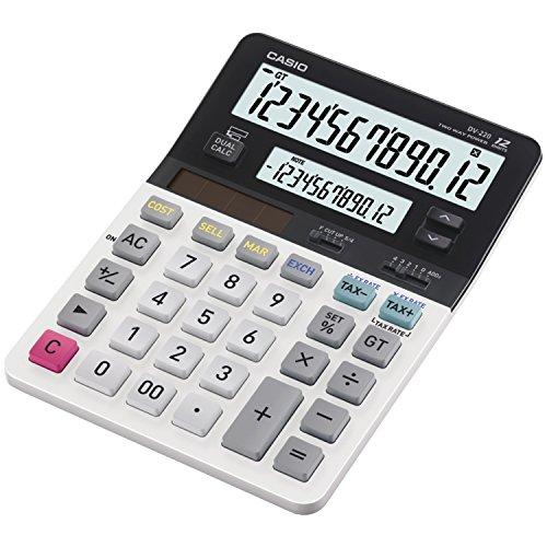 Casio DV-220, calculadora de Escritorio de Negocios, Pantalla Doble Grande, Blanco/Negro