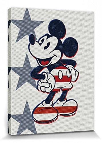 1art1 Mickey Mouse Poster Reproduction sur Toile, Tendue sur Châssis - Portrait Artistique Disney, Retro, Stars N' Stripes, Drapeau États-Unis, USA (80 x 60 cm)
