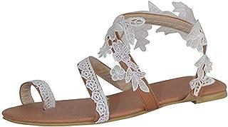 Slip-On Flat Clip Toe Lace Floral Summer Sandals, Women Spring Summer Roman Bohemia Beach Sandals Shoes,35