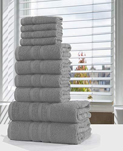 SeventhStitch Juego de toallas de baño de lujo de 10 piezas, 100% algodón egipcio para la cara de baño (plata)