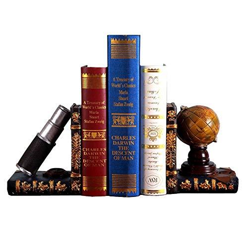 E-isata Buchstützen, Globus und Teleskop-Regal, ordentliche Buchstützen, schwere Vintage-Aufbewahrung, Hipster, Büro, Studium, CDs, DVDs, Erkundungsgeschenke
