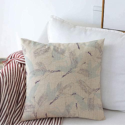 Farmhouse Funda de Almohada Decorativa Funda de Almohada Cuadrada Textura Vintage Patrón de grúa Diseño de Asia Leopardo Elegante ala Rosa Ornamental Floral Trendy Bird Funda de cojín para s