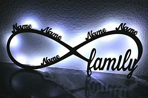 Familie Unendlichkeitszeichen Namen oder Datum Lasergravur Geschenke Wohnzimmer Schlafzimmer