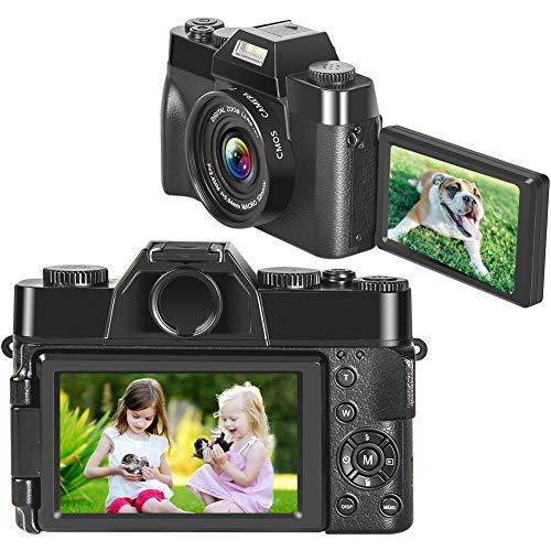 Macchina Fotografica Videocamera 2.7K 30MP Macchina Fotografica Compatta 16X Digitale Zoom Fotocamera con 3 Pollici 180 ° con Schermo Selfie Camera