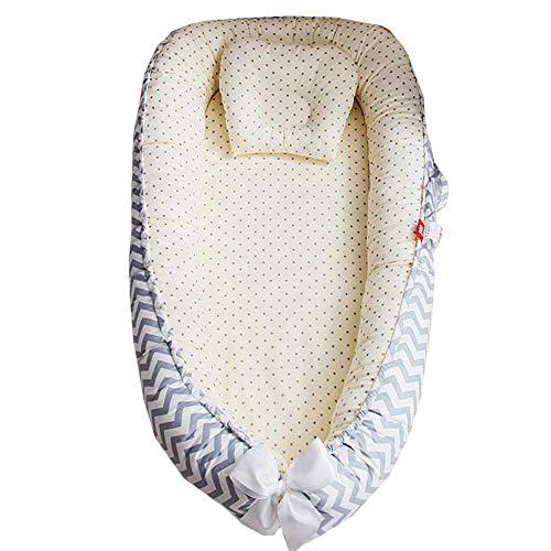 TEALP Tumbona para bebé, Nido de bebé, Nido Transpirable para recién Nacido, Funda extraíble con algodón orgánico Supersuave, estrella de onda amarilla
