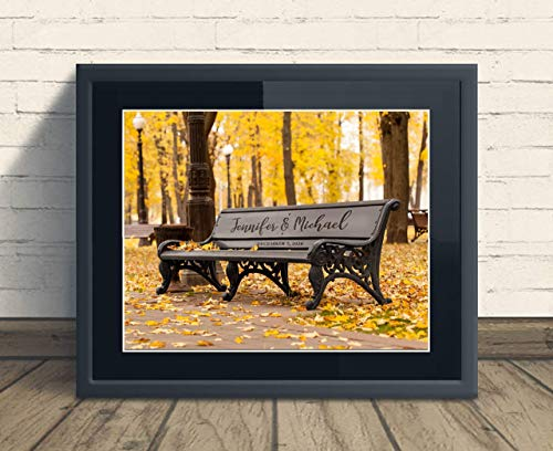Custom Rustic Vintage Park Bench Print Wedding Anniversary Gift, Personalized Keepsake Artwork includes Couples Names and Established Date, Gift for the Newlyweds and Bridal Shower