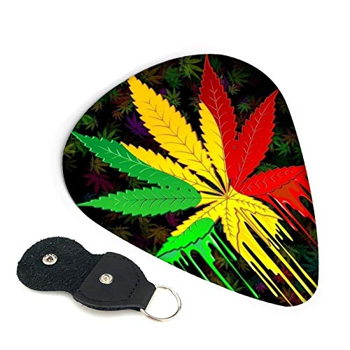 6 púas de guitarra, hoja de marihuana, púa de cannabis, incluye media fina y pesada para su bajo eléctrico, acústico o bajo