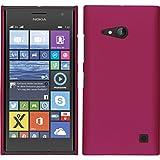 PhoneNatic Case kompatibel mit Nokia Lumia 730 - Hülle pink gummiert Hard-case + 2 Schutzfolien