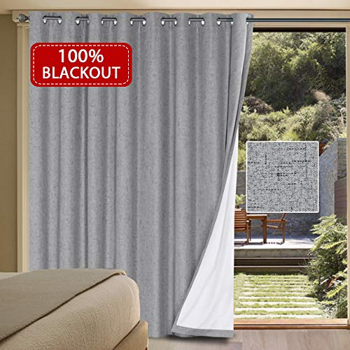 H.VERSAILTEX 100% Blackout Drapes for Sliding Glass Door- Waterproof Faux Linen...