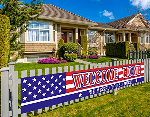 Large Welcome Home Banner, Deployment Returning Party Supplies, Military Army Homecoming Party Decorations, Sweet Home Decor (9.8 x 1.6 feet)
