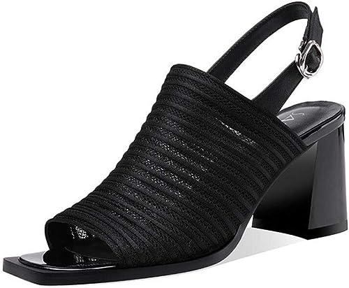 DALL Chaussures Sandales Femme été La Mode Mode Talons Hauts Bout Ouvert Décontracté Chaussures De Soirée élégantes (Couleur   noir, Taille   EU 39 UK6 CN 39)  vente pas cher