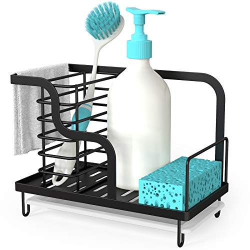 FavoThings Kitchen Sink Caddy Organizer with Drain Pan, Stainless Steel, for Sponges, Scrubbers, Soap, Kitchen, Bathroom, Black