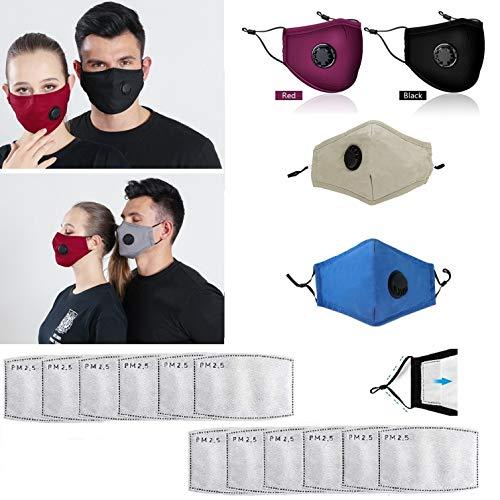 Freefa 4pezzi Bandane facciali lavabili in Italia regolabili con valvola respiratoria e 12pezzi filtri a carbone attivo a cinque strati sostituibili Haze Dust Face Health per adulti