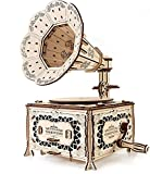 EWA Eco-Wood-Art-Gramophone Gramófono mecánico 3D de Madera-Rompecabezas para Adultos y Adolescentes-Montaje sin pegamento-321 Piezas, Color Naturaleza
