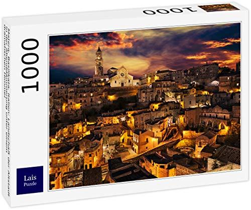 Lais Puzzle Matera, Basilikata, Italien: Landschaft der Altstadt in der Abenddämmerung unter einem dramatischen Himmel 1000 Teile