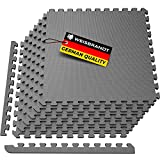 WEISBRANDT Puzzle Exercise Workout Mat, EVA Foam Interlocking Tiles, for Gym, MMA, Home, Workshops, Basement, Fitness Room, Outdoor Areas - 1/2' Gray