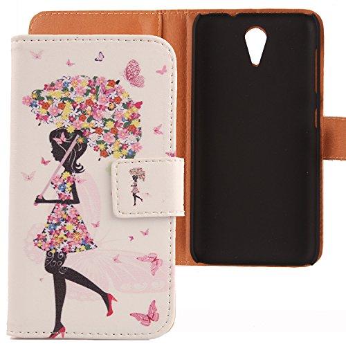 Lankashi PU Flip Leder Tasche Hülle Case Cover Schutz Handy Etui Skin Für HTC Desire 620 620G / 820 Mini Umbrella Girl Design