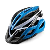 MOKFIRE Adult Bike Helmet with Rechargeable USB Light, Bicycle Helmet Men Women, Road Cycling & Mountain Biking Helmets with Removable Visor, Adjustable 22.05-24.41 Inches (Blue)