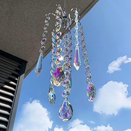 Divfaion 6 estilos candelabro campanas de viento ornamento cristal prismas colgantes suncatcher arco iris perseguidor ventana cortinas hogar jardín decoración