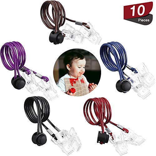 10 Pieces Adjustable Napkin Clip Holder Flexible Bib Holder Clip Portable Napkin Bib Towel Strap Chain Lanyard Necklace Clip Dining Clothing Protector for Kid, Adult and Elderly, 5 Colors